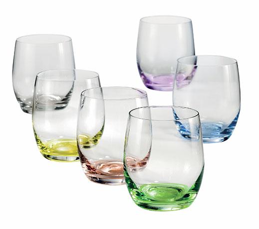 Bohemia Crystal barevné skleničky na alkohol Rainbow 6 ks, 60 ml, Crystalex