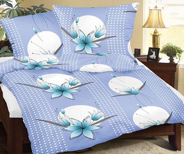 Povlečení flanel 12/509 modrá lilie 140x200 cm, 70x90 cm