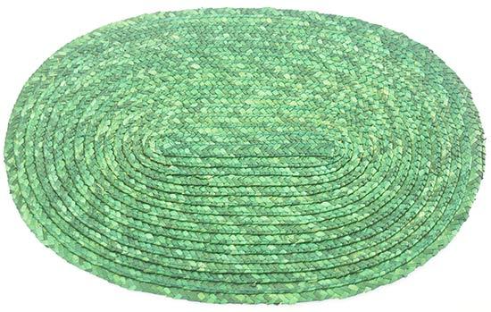 Prostírání z barvené slámy oválné, zelené 24 x 35 cm