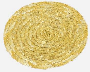 Prostírání z barvené slámy kruh, žluté pr. 11 cm