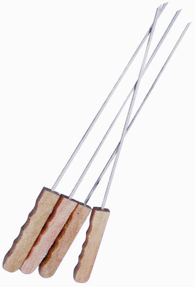 Jehly na špíz 50 cm, ploché s dřevěnou rukojetí. Levior