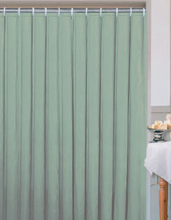 Textilní koupelnový závěs 180 x 200 cm, zelená