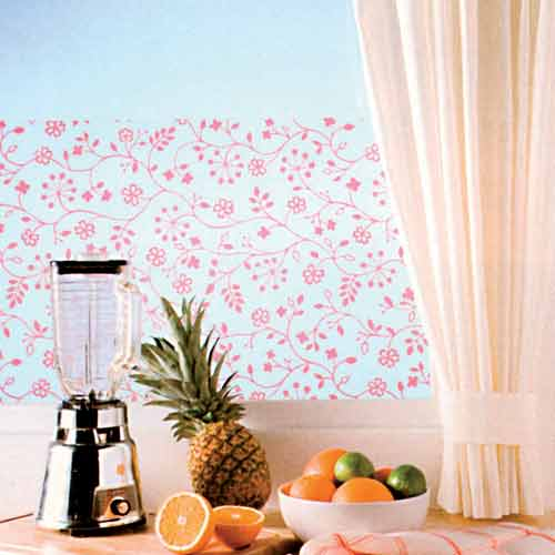 Statická fólie na okna do koupelny 338-0013 Bílé květy