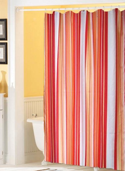 Koupelnový závěs PVC - Pruh červený 180 x 180 cm.