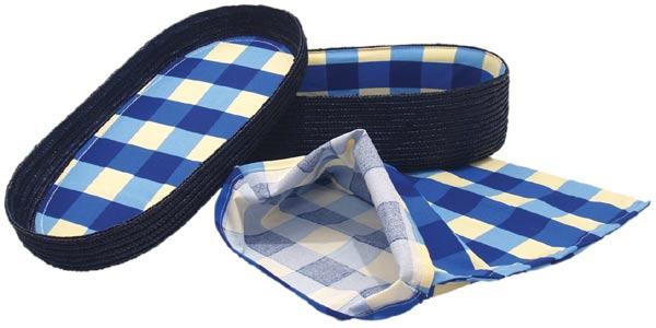 Chlebník polstrovaný oválný, modrá