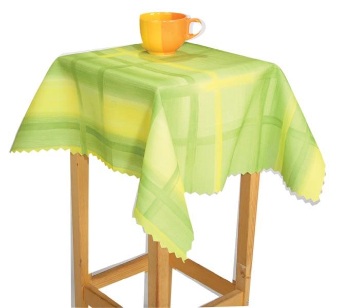 Teflonový ubrus na jídelní stůl Káro kulatý, 150 cm, zelená