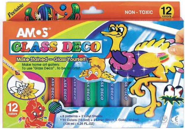 Barva na sklo 10+2 barev á 10.5ml + šablony + 1folie, Amos