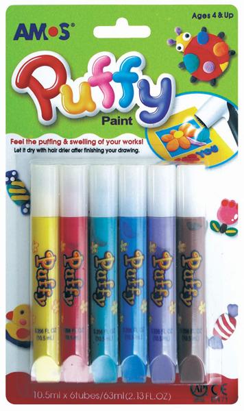 Barvy na textil sada Puffy 6 ks, Amos