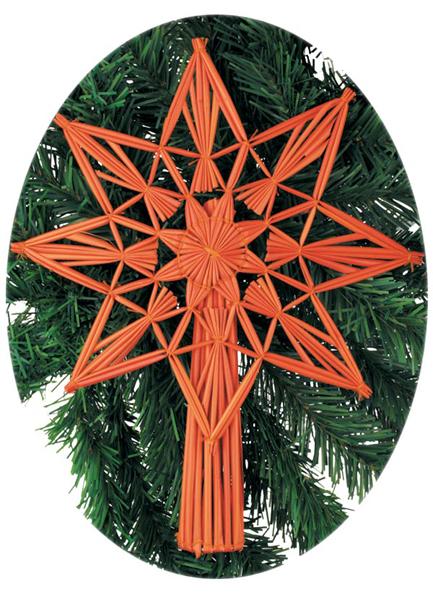 Vánoční špice, hvězda na stromek 26 cm - skořicová, Anděl