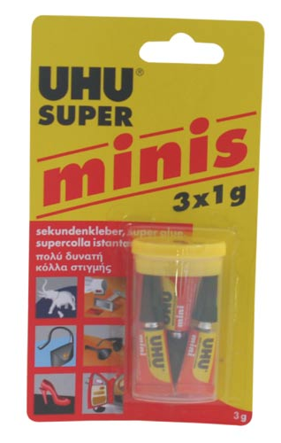 UHU SUPER MINIS vteřinové lepidlo 3 x 1 g