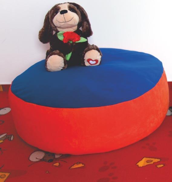 Sedací válec pro děti Adodo 788, 75 x 25 cm, oranžovo-modrý