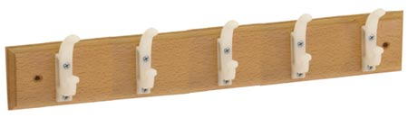 Dřevěný věšák na zeď 5 x 2 háčky, 60 cm