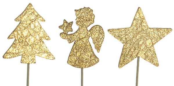Zápich dřevěný - andílek, stromek, hvězda