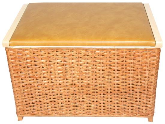 Proutěný prádelní koš s čalouněným víkem Lavička 60x40x40 cm, Fortel