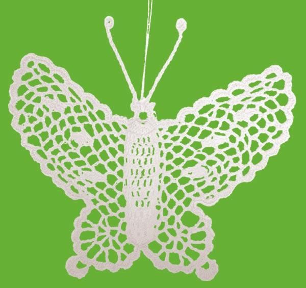 Háčkovaný motýl - bílý