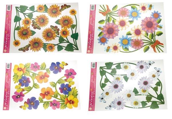 Rohová okenní fólie květinová - 4 ks