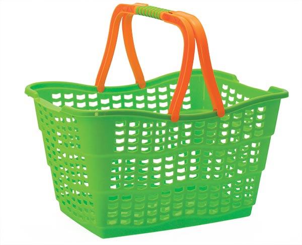 Nákupní košík plastový 0879, 39x28x25cm,10kg, mix