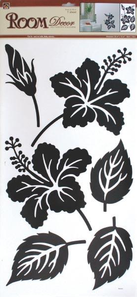 Pokojová samolepící dekorace - ibišek s listy