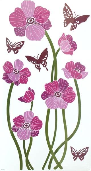 Samolepící pokojová dekorace - květy