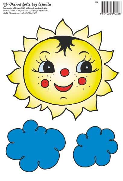 Adhezivní fólie na okno - sluníčko s obláčkem