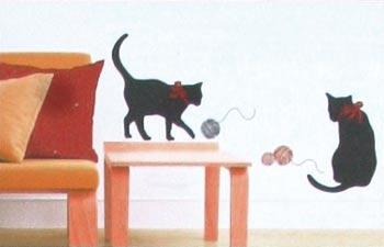 Pokojová samolepící dekorace - černé kočky