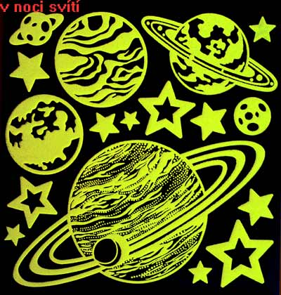Samolepky svítící ve tmě - planety