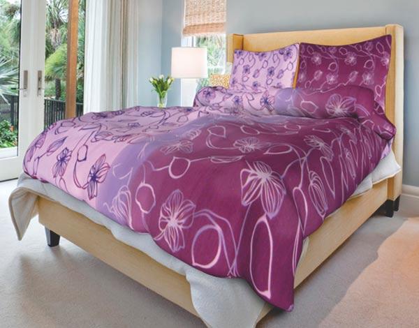 Povlečení bavlna na 2 postele Stvoly fialové 140x200 70x90, Smolka