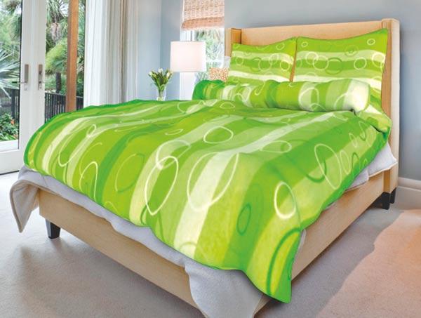 Povlečení bavlna na 2 postele Kola zelená 140x200 70x90, Smolka