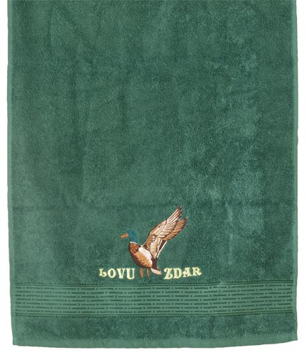 Osuška pro myslivce 70 x 140 cm Lovu zdar, tm. zelená, Fortel