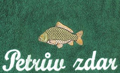 Osuška pro rybáře 70 x 140 cm Petrův zdar, tm. zelená, Fortel
