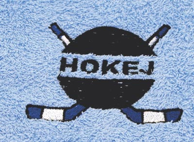 Osuška 70 x 140 cm hokej, bílá