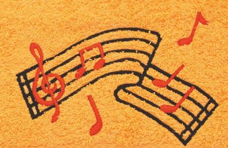 Osuška 70 x 140 cm melodie, oranžová
