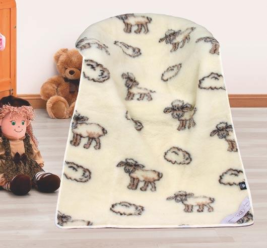 Dětská přikrývka z ovčí vlny 100 x 150 cm, ovečka