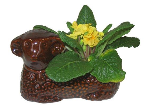 Keramický květináč beránek, hnědá