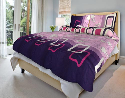 Povlečení bavlna na 2 postele Andrea lila 140x200 70x90, Smolka