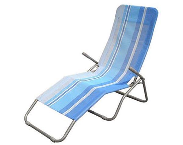 Skládací lehátko relaxační - modrý pruh