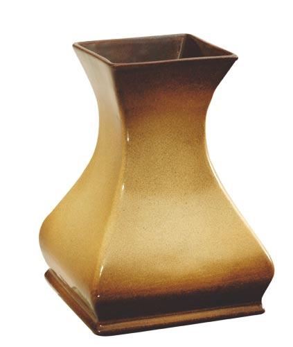 Váza venkovní s glazurou 3947, 22cm, hnědá