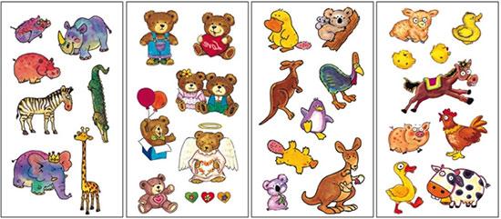 Dětské tetovačky barevné Zvířata, 15 x 8,5 cm, nalepovací, Anděl
