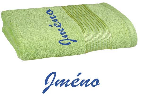 Ručník 50 x 100 cm s výšivkou sv. zelená - jméno