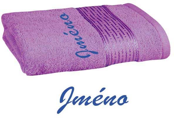 Ručník 50 x 100 cm s výšivkou fialová - jméno