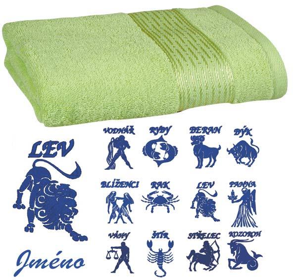 Ručník 50 x 100 cm s výšivkou sv. zelená - znamení + jméno