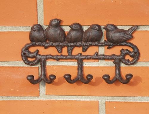 Litinový věšák na klíče Ptáci 25x13 cm
