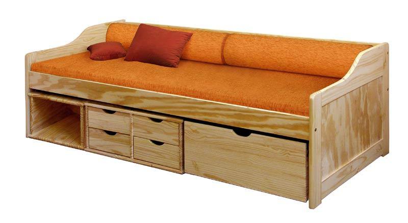 Zvýšené jednolůžko s uložným prostorem a roštem 205x97x69cm, Idea nábytek