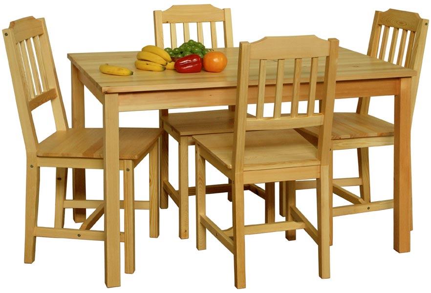 Stůl + 4 židle z masivu 8849