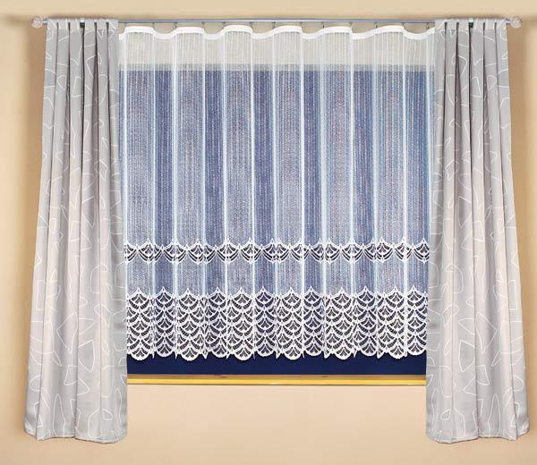 Šitá kusová záclona ZUZANKA s řasící stuhou 300 x 180 cm