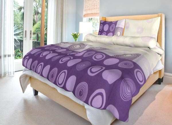 Povlečení bavlna na 2 postele Silva lila 140x200 70x90, Smolka