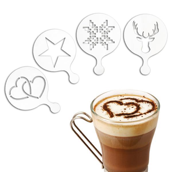 TORO šablony 263633 na zdobení kávy 10x7x0,6cm, 4 ks