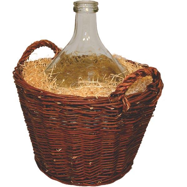 Demižon 10 L v proutěném koši s dřevitou vlnou, Fortel