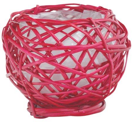 Barvený proutěný obal, košík pr. 12 x 13 cm - červená
