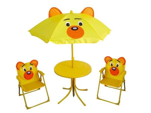 Dětský zahradní set BEAR - křesílka, stoleček a slunečník